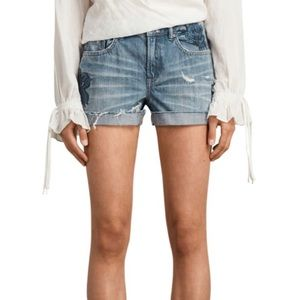All saints Pam rose embroidered denim shorts